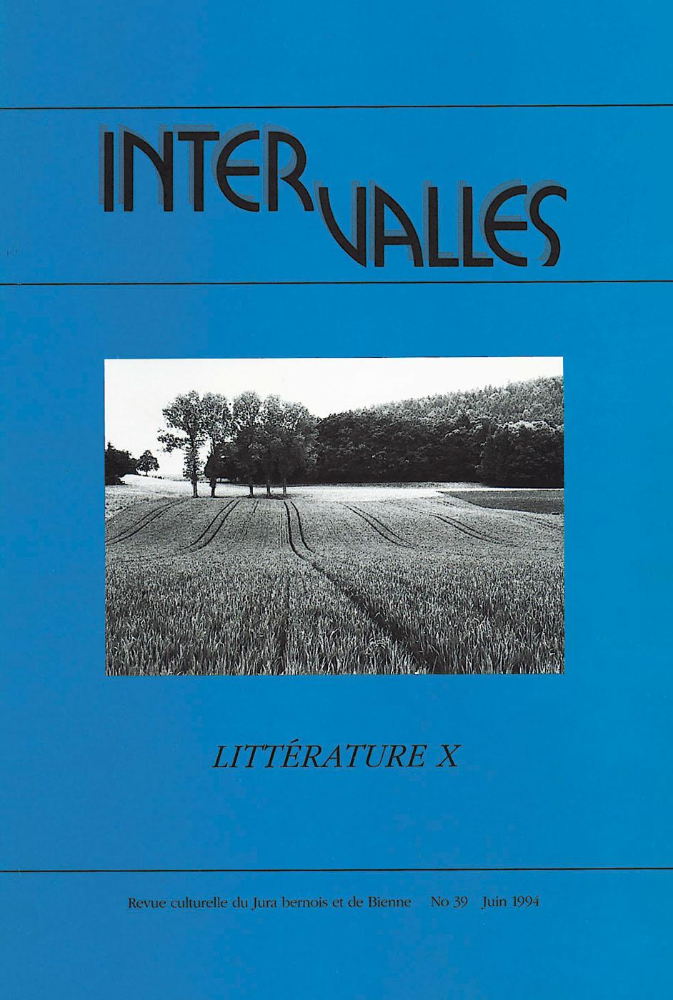 No 39 – Littérature X